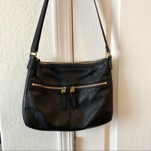 Fossil Black Pebbled Leather Crossbody Bag